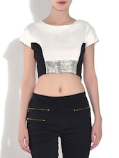 White And Black Polyester Sequined Crop Top - By