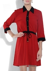 Red Polyester Collared Shirt Dress - By