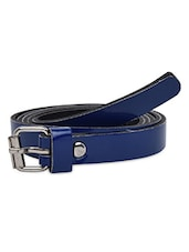 Solid Royal Blue Faux Leather Belt - By