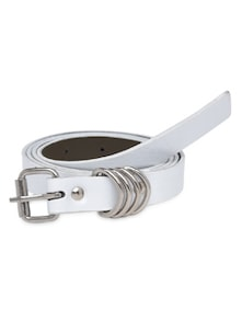 Solid White Faux Leather Belt