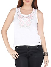 White Cotton Embroidered Sleeveless Top - By