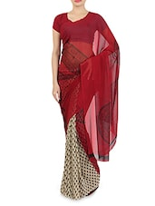 Maroon Faux Georgette Printed Saree - By