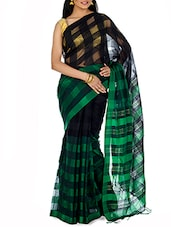 Black Yarn Dyed Striped Tant Cotton Saree - By - 9547353