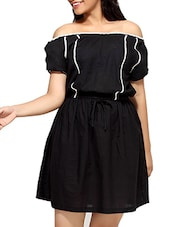 Black Cotton  Short Sleeves Blouson Dress - By