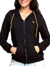 Black Cotton Fleece  Long Sleeves Sweat Shirt - By