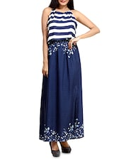 Navy Blue Rayon Maxi Dress With Striped Bodice - By
