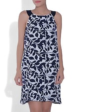White Leaf Printed Poly Crepe Dress - By