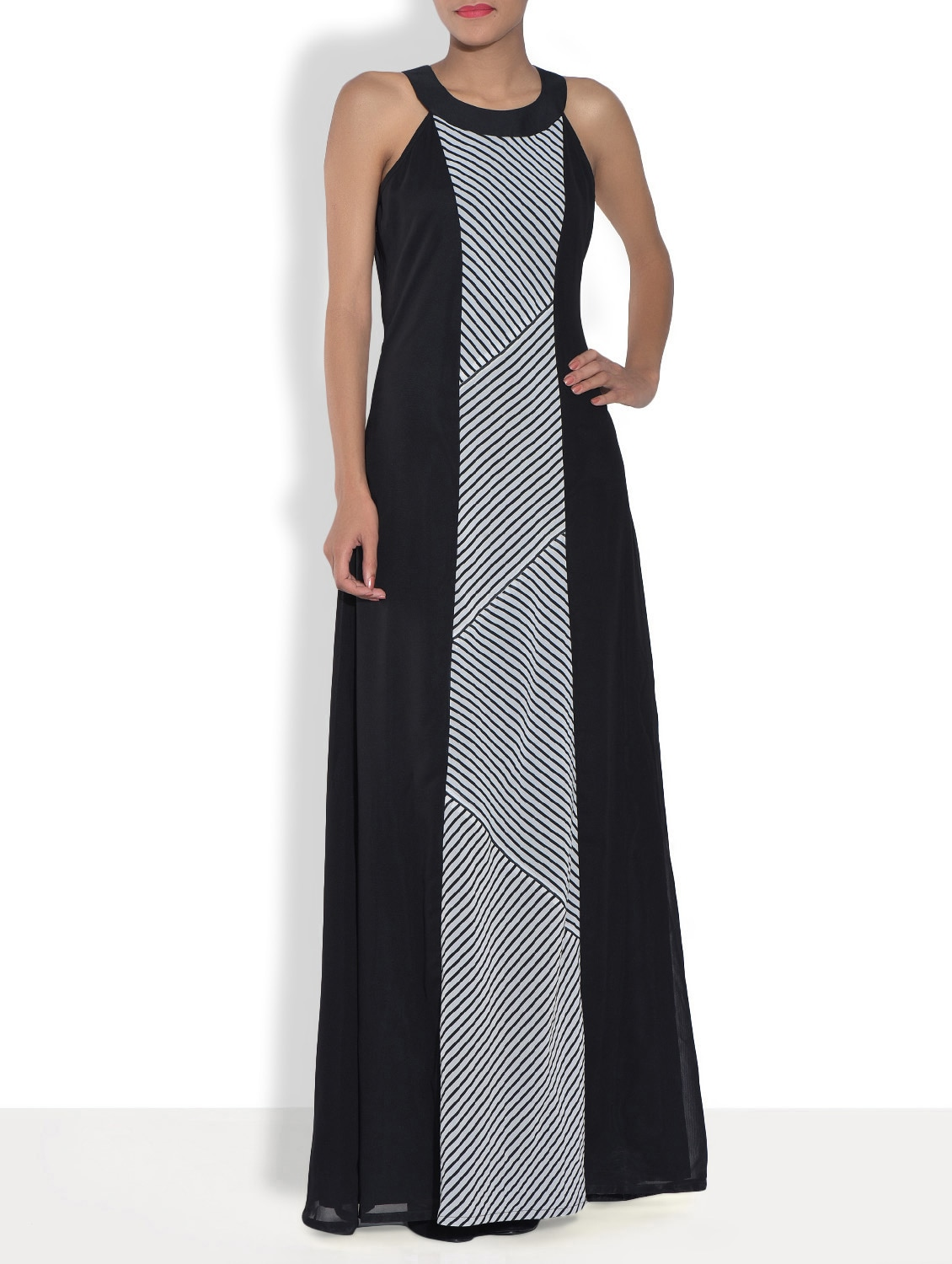 Black Printed Poly Georgette Maxi Dress - By
