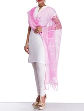 Fushia Pink Checkered Net Dupatta - By