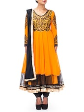 Embroidered Orange Faux Georgette Anarkali Suit Set - By