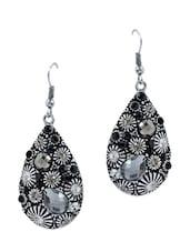 Black -Grey Statement Dangler Earrings - Maayra