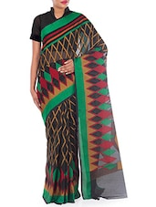 Black Chanderi Cotton Saree - By