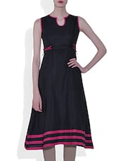 Black Rayon Flared Kurta - By