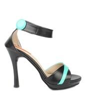 Black Faux Leather Stiletto Sandals - By