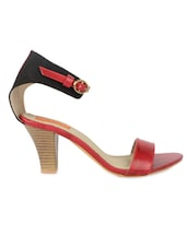 Red Buckled Faux Leather Block Heel Sandals - By