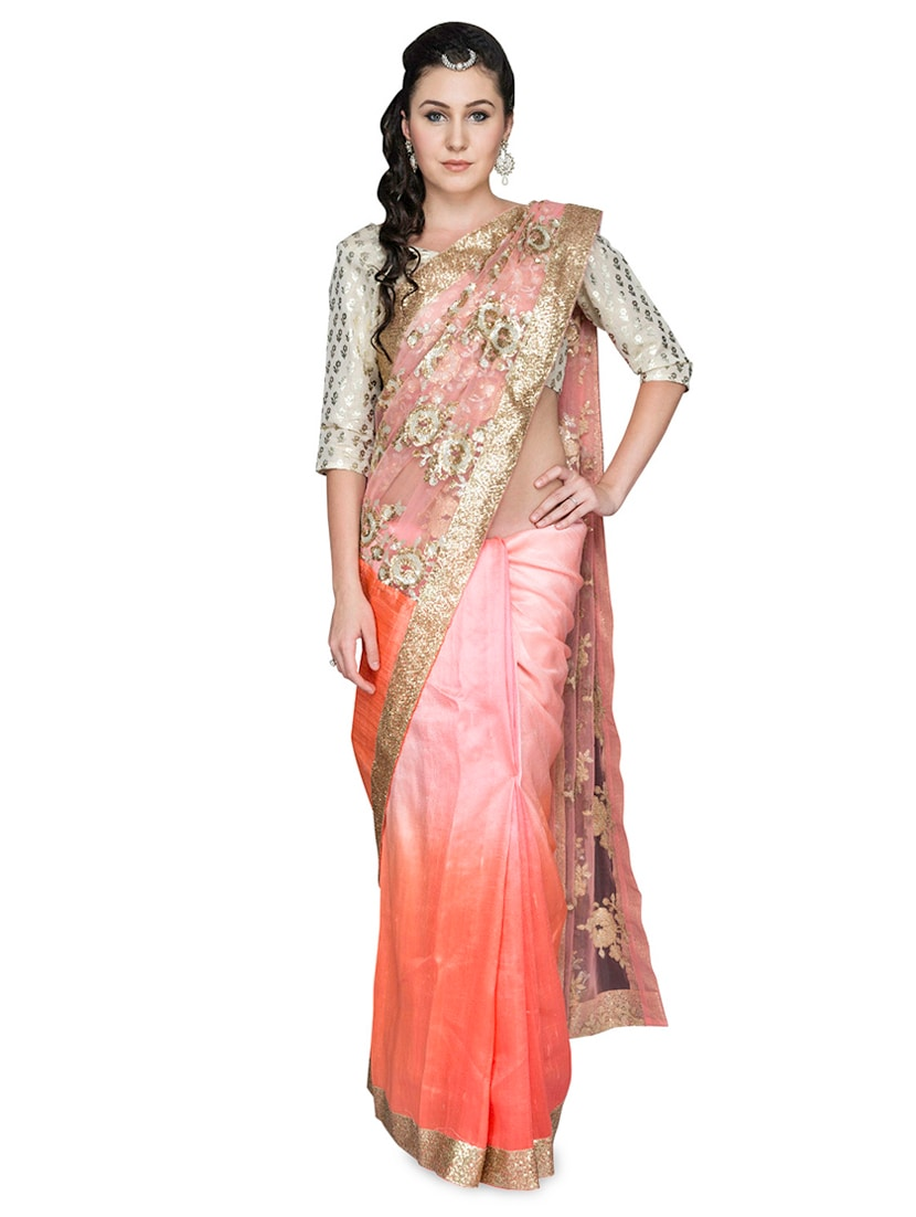 Pink And Orange Sequined Silk Saree - By