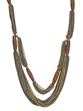 Silver Wood Beaded Metallic Necklace - By