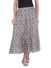 Grey And Black Printed Cotton A-Line Ankle Skirt - By