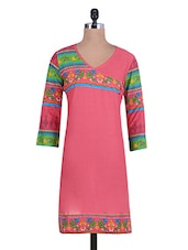Coral Printed Cotton Kurta With Overlapping Bodice - By