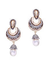 Multicolored Stone Embellished Pearl Drop Earrings - By