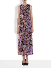 Black Polyester Floral Printed Sleeveless Maxi Dress - By