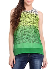Green And Yellow Printed Halter Neck Top - By