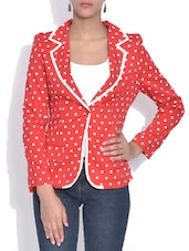 Red Polka Dot Printed Blazer - By