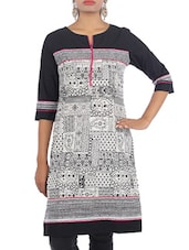 Black And White Cotton Printed Kurti - By