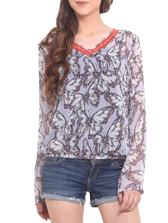 White Chiffon Printed Long Sleeved Top - By