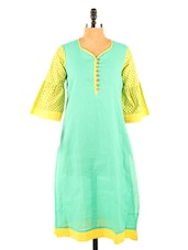 Sea Green Bell-Sleeved Kurta - Desiweaves