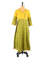 Green And Yellow Printed Kurta - Desiweaves