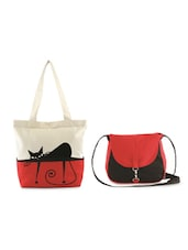 Red Printed Canvas Tote And Sling Bag Combo - By