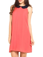 Coral Poly Georgette Peter Pan Collar Dress - By