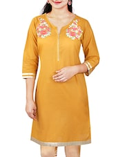 Embroidered Straight Fit Mustard Yellow Cotton Kurti Colour -  Mustard Yellow Material - Cotton Touch And Feel - Soft Dry Work/p - By