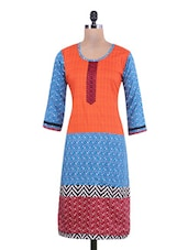 Red Cotton Polka Dot Embroidered Straight Kurta - By