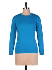 Blue Wool Plain Pull Over - By - 9554298