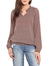 Brown Printed Polyester Top With Notch Neck - By