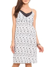 White Printed Cotton Slip Dress - By