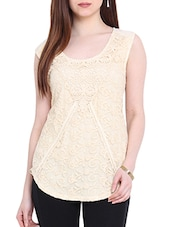 Embroidered Ecru Nylon Top With Back Slit - By