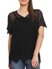 Embroidered Black Polyester Top With Scalloped Hem - By