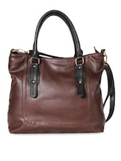 Coffee Brown Zippered Faux Leather Handbag - By