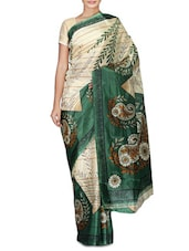 Beige And Dark Green Printed Art Silk Saree - By