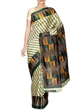 Beige And Green Striped Art Silk Saree - By