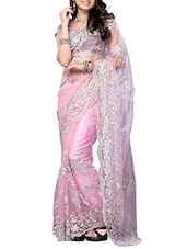 Light Pink Floral Embroidered Net Saree - By