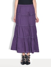 Purple Cotton  Three Quarter Length Skirt - By