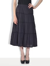 Solid Black Cotton Tiered Skirt - By