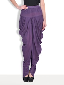 Purple Cotton  Full Length Dhoti Pant
