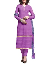 Multi Embroidered Georgette Chudidar Unstitched Dress Material(Purple) - By