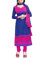 Multi Embroidered Georgette Anarkali Unstitched Dress Material(Blue,Pink) - By
