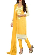 Multi Embroidered Glaze Cotton Straight Unstitched Dress Material(Yellow) - By